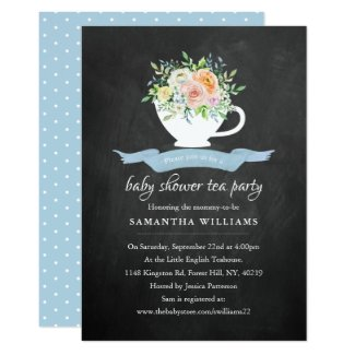 Chalkboard Floral Teacup Baby Shower Tea Party Invitation