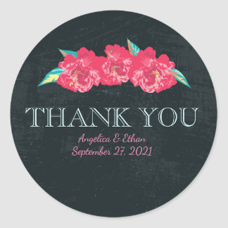 Chalkboard Floral Thank You Stickers