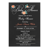 chalkboard Floral unisex Baby shower Invitation