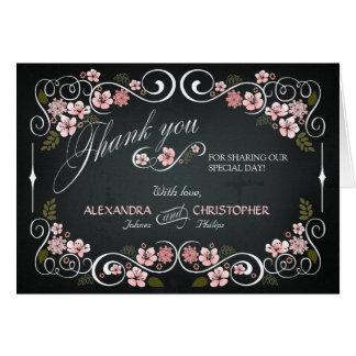 Chalkboard Floral Vintage Bold Thank You DIY Card