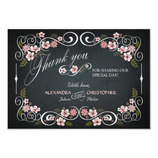 Chalkboard Floral Vintage Bold Thank You 3.5x5 Paper Invitation Card