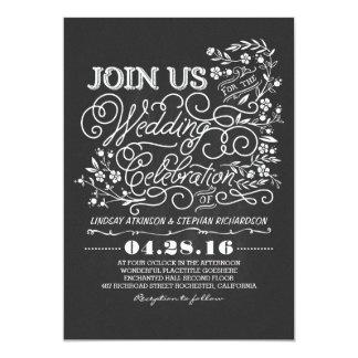 "Chalkboard floral vintage wedding invitation 5"" x 7"" invitation card"