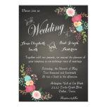 Chalkboard floral wedding invitations