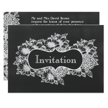 chalkboard floral wedding invites