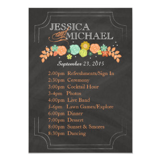 Chalkboard Floral Wedding Program ITINERARY CARD
