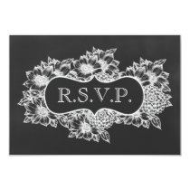 chalkboard floral wedding rsvp card