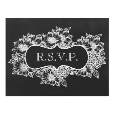 chalkboard floral wedding rsvp postcard