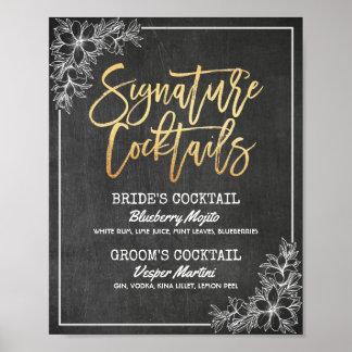 Chalkboard Floral Wedding Signature Drink Menu Poster