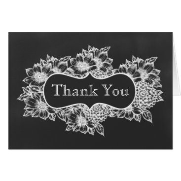 chalkboard floral wedding Thank You Card