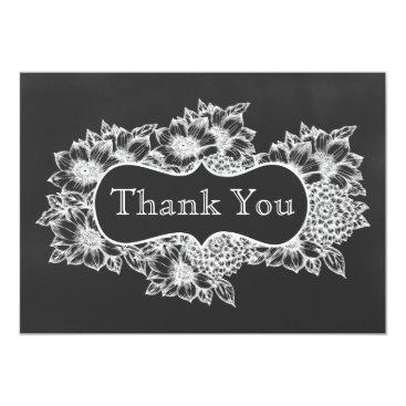 chalkboard floral wedding Thank You Card