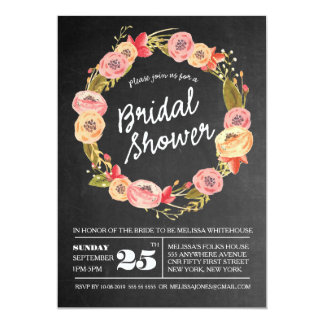 "Chalkboard Floral Wreath Bridal Shower Invite 5"" X 7"" Invitation Card"