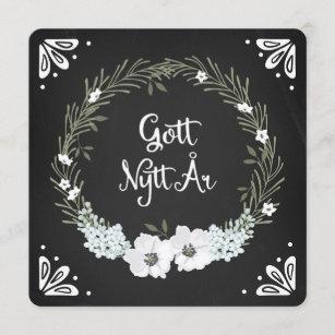 Chalkboard Floral Wreath Happy New Year Swedish Holiday Card