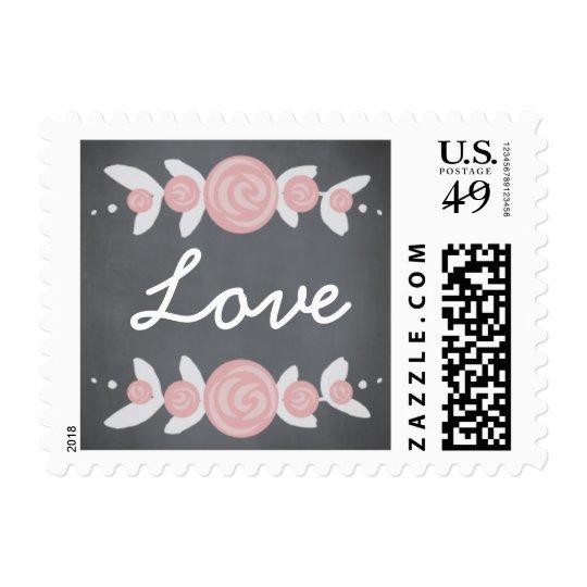 Chalkboard Floral Wreath Love Stamp