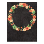 Chalkboard Floral Wreath Post Card