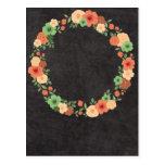 Chalkboard Floral Wreath Post Card