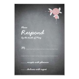 "Chalkboard Floral Wreath Response 3.5"" X 5"" Invitation Card"