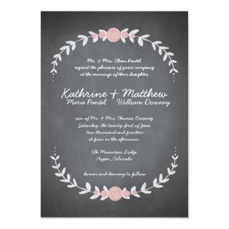 Chalkboard Floral Wreath Wedding Invitation