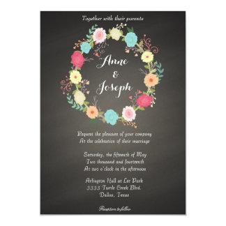 Chalkboard floral wreath wedding invitations