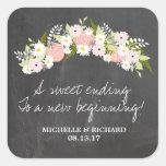 Chalkboard Floral Wreath Wedding Square Sticker