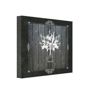 Chalkboard Flower Canvas Wrap - black mason jar wall art