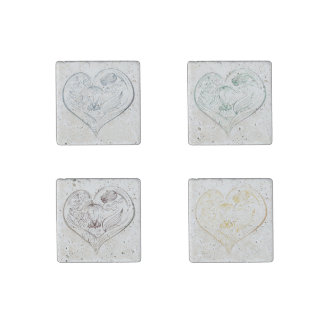 Chalkboard Flower  Hearts - Set of 4 Magnets