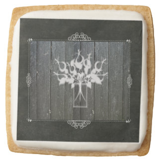 Chalkboard Flower Square Premium Shortbread Cookie