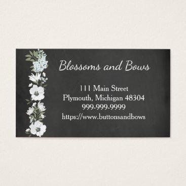 Professional Business Chalkboard Flower Shop Business Card White Flowers