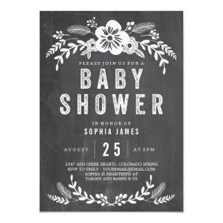 Chalkboard Flowers Baby Shower Card