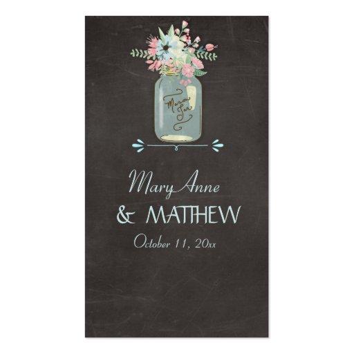 Chalkboard Flowers Rustic Mason Jar Modern Floral Business Card Templates