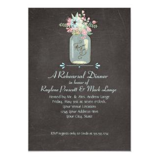 Chalkboard Flowers Rustic Mason Jar Modern Floral Card
