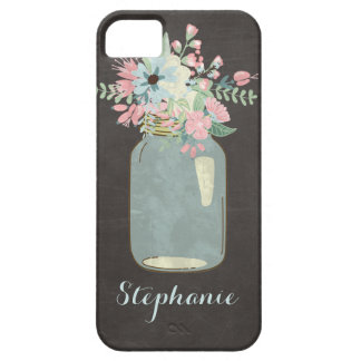 Chalkboard Flowers Rustic Mason Jar Modern Floral iPhone 5 Cases