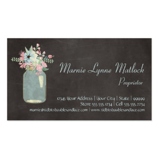 Chalkboard Flowers Rustic Mason Jar Modern Floral Double-Sided Standard Business Cards (Pack Of 100)