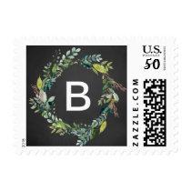 Chalkboard Foliage Monogram Wreath Wedding Postage