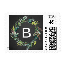 Chalkboard Foliage Monogram Wreath Wedding Postage
