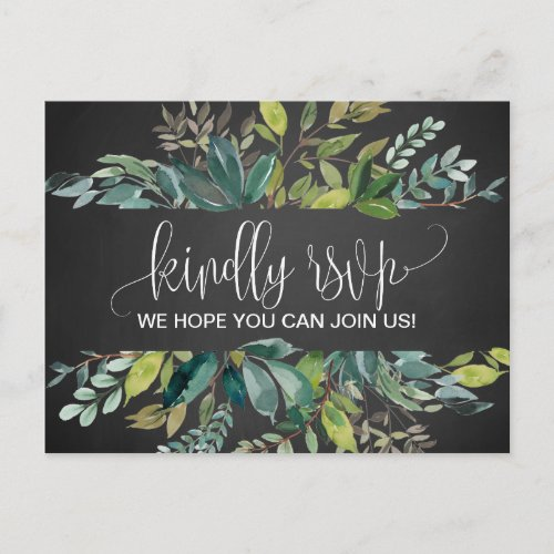 Chalkboard Foliage Song Request RSVP Postcard