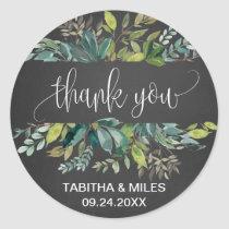 Chalkboard Foliage Thank You Wedding Favor Classic Round Sticker