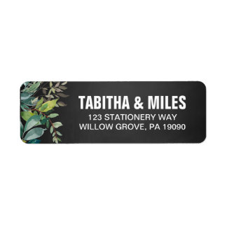Chalkboard Foliage Wedding Label