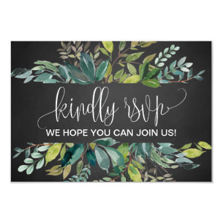 Chalkboard Foliage Wedding Website RSVP Card