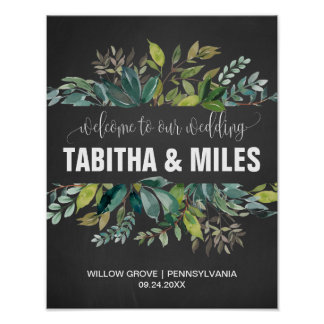 Chalkboard Foliage Wedding Welcome Poster