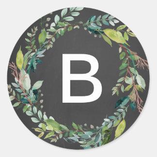 Chalkboard Foliage Wreath Monogram Envelope Seals