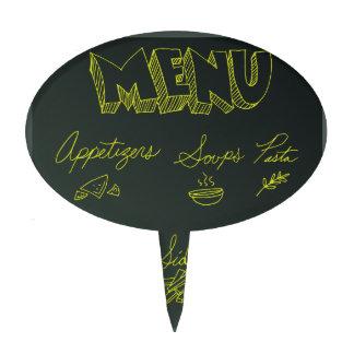Chalkboard Food Menu Background Cake Toppers