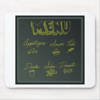 Chalkboard Food Menu Background Mouse Pad