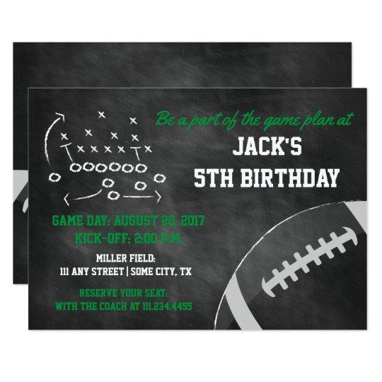 Chalkboard Football Themed Birthday Invite