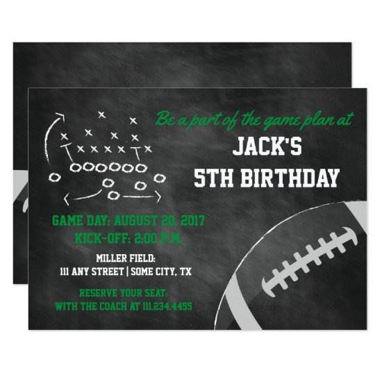 Chalkboard Football Themed Birthday Invite