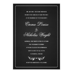 Chalkboard Formal Typography Wedding Invitations at Zazzle