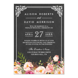 Chalkboard Frame Floral Post Wedding Celebration Card