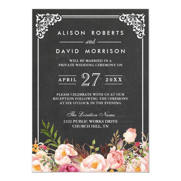 Chalkboard Frame Floral Post Wedding Celebration Card