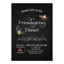 Chalkboard Friendsgiving Dinner Country Chic Invitation