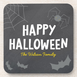 Chalkboard Frightful Creatures Happy Halloween Coaster