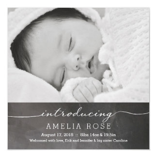 Chalkboard Full Photo Baby Announcement Magnetic Invitations
